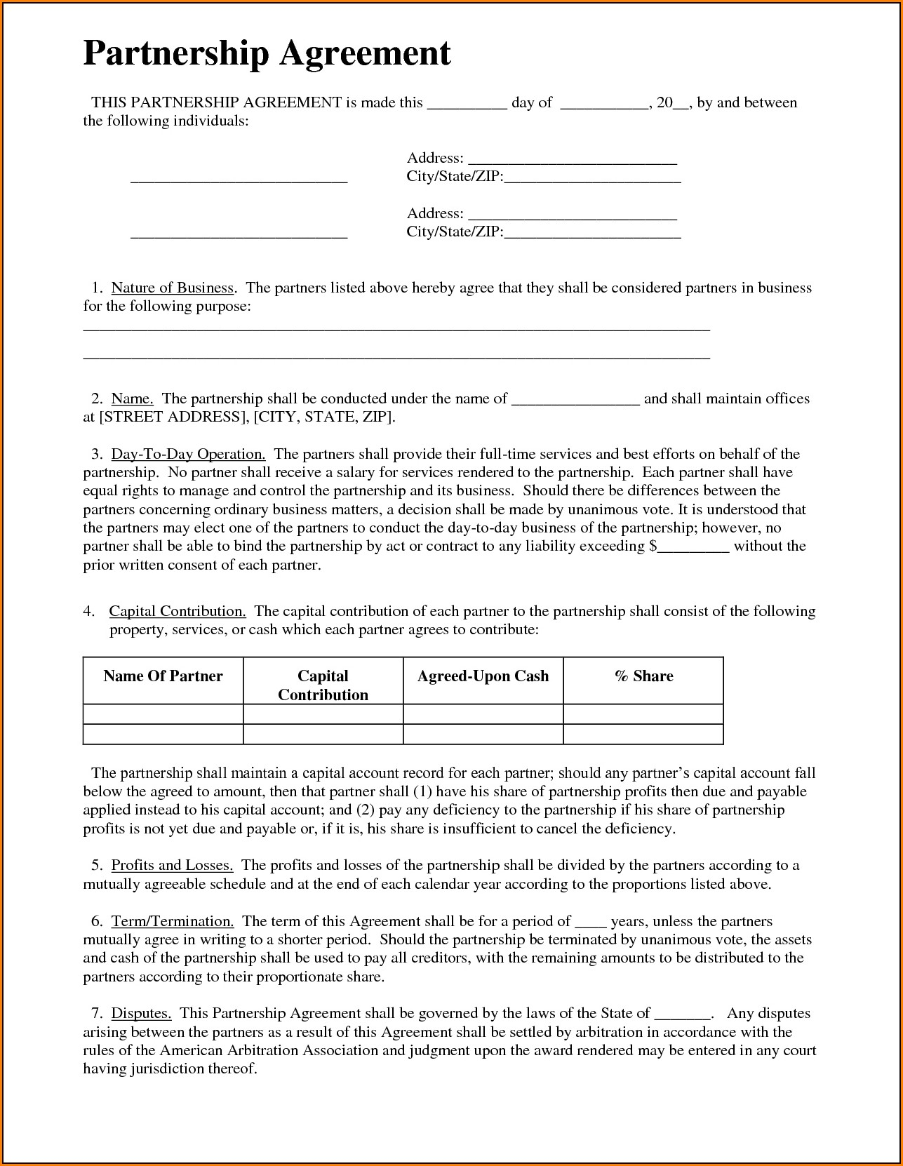 Free Partnership Agreement Form Word Form Resume Examples