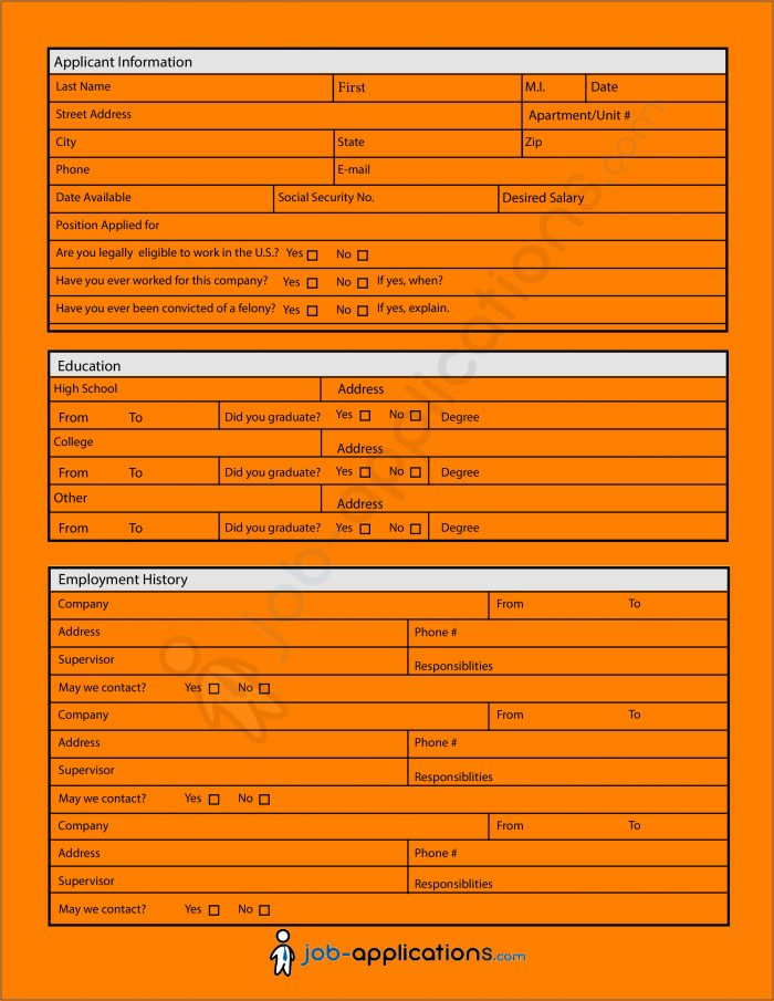 Free Printable Generic Employment Application