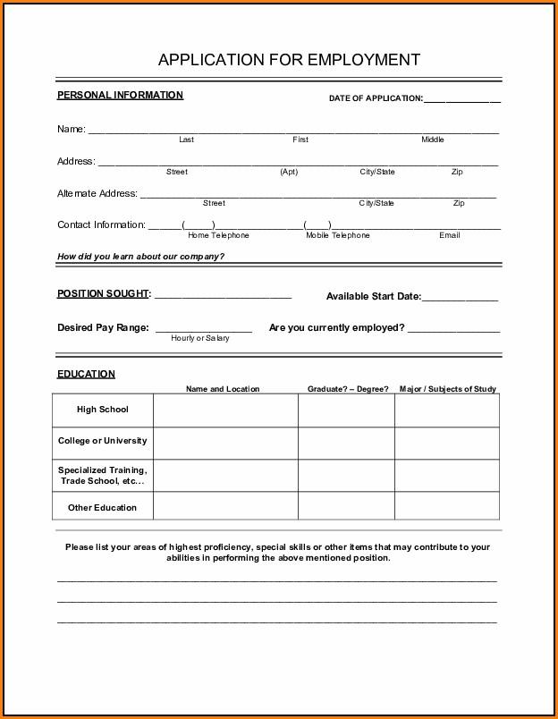Free Printable Job Application Forms