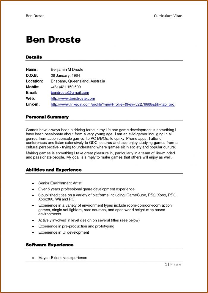 Free Printable Resume Examples