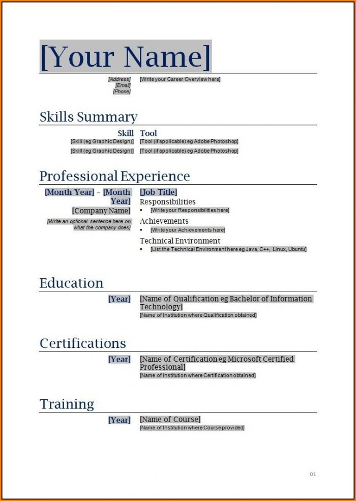 Free Printable Resume Templates Microsoft Word