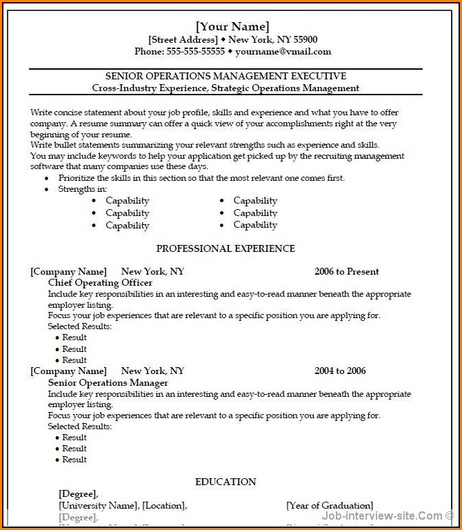 Free Professional Resume Templates Microsoft Word