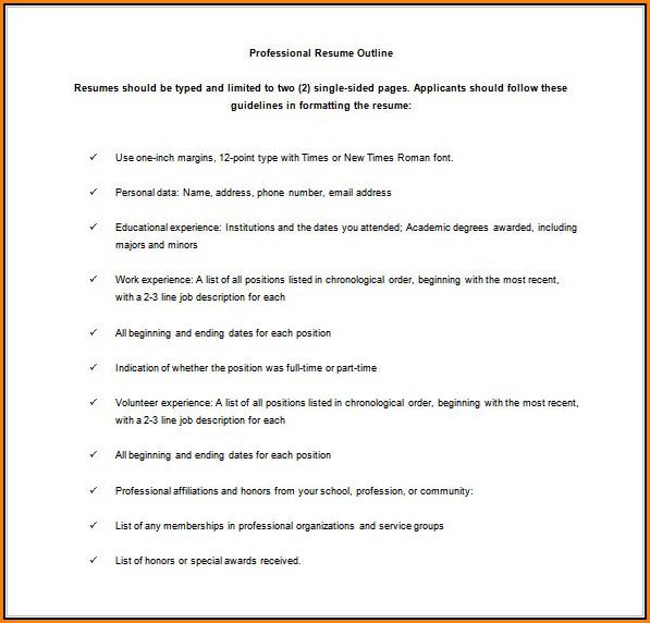 Free Resume Outline