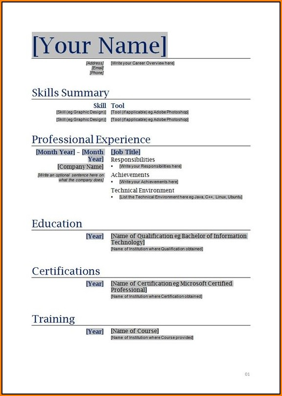 Free Resume Samples Printable
