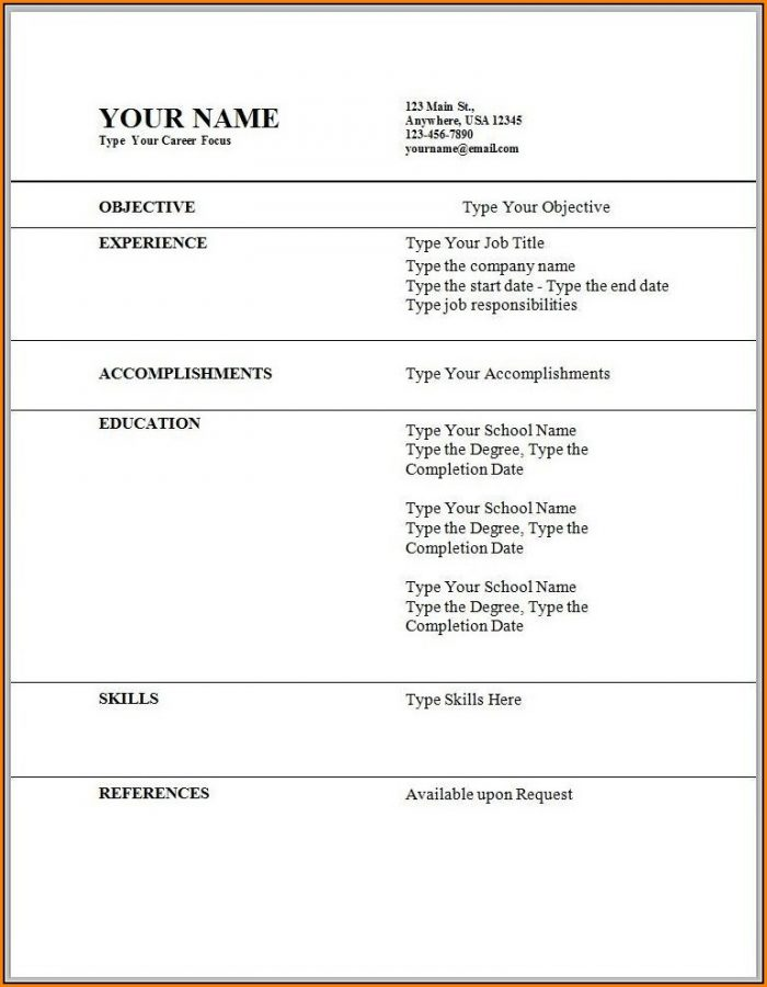 Free Resume Templates For Wordpad