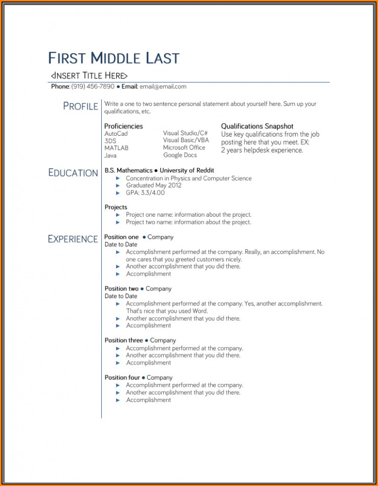 Free Student Resume Templates Word