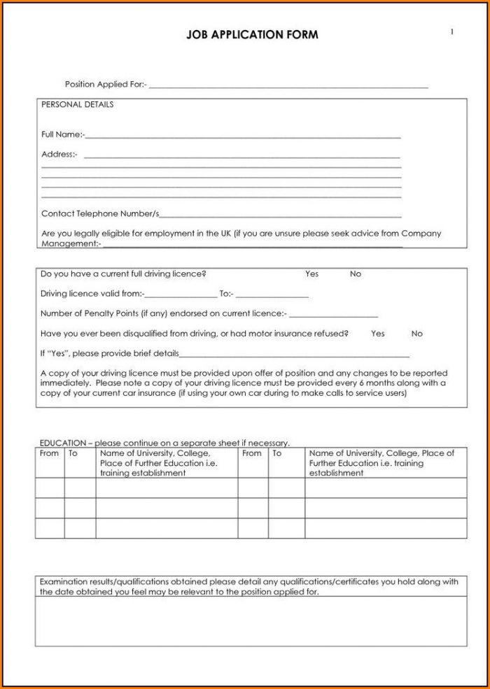 Free Truck Driver Job Application Form