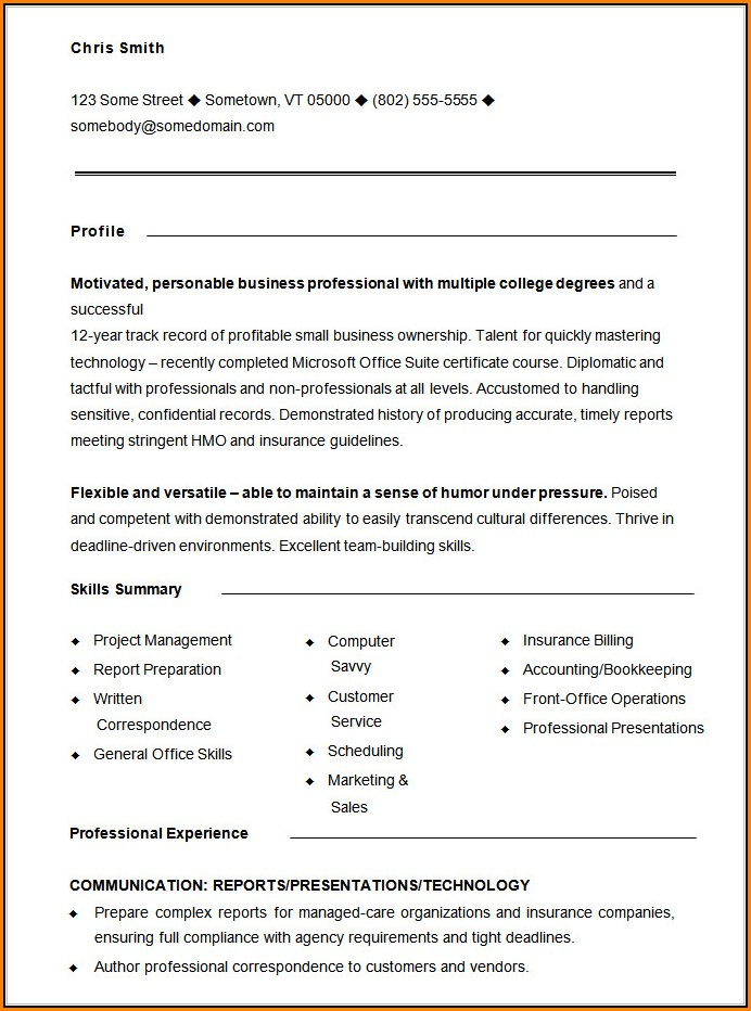 Functional Resume Template Free