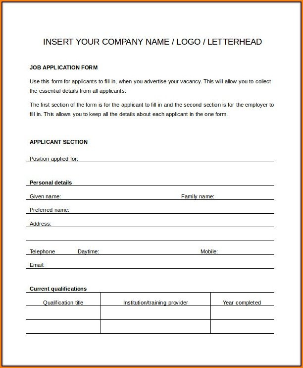 Generic Job Application Template Word