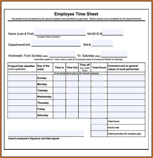 Group Employee Timesheet Template Free