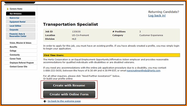 Hertz Job Application Online