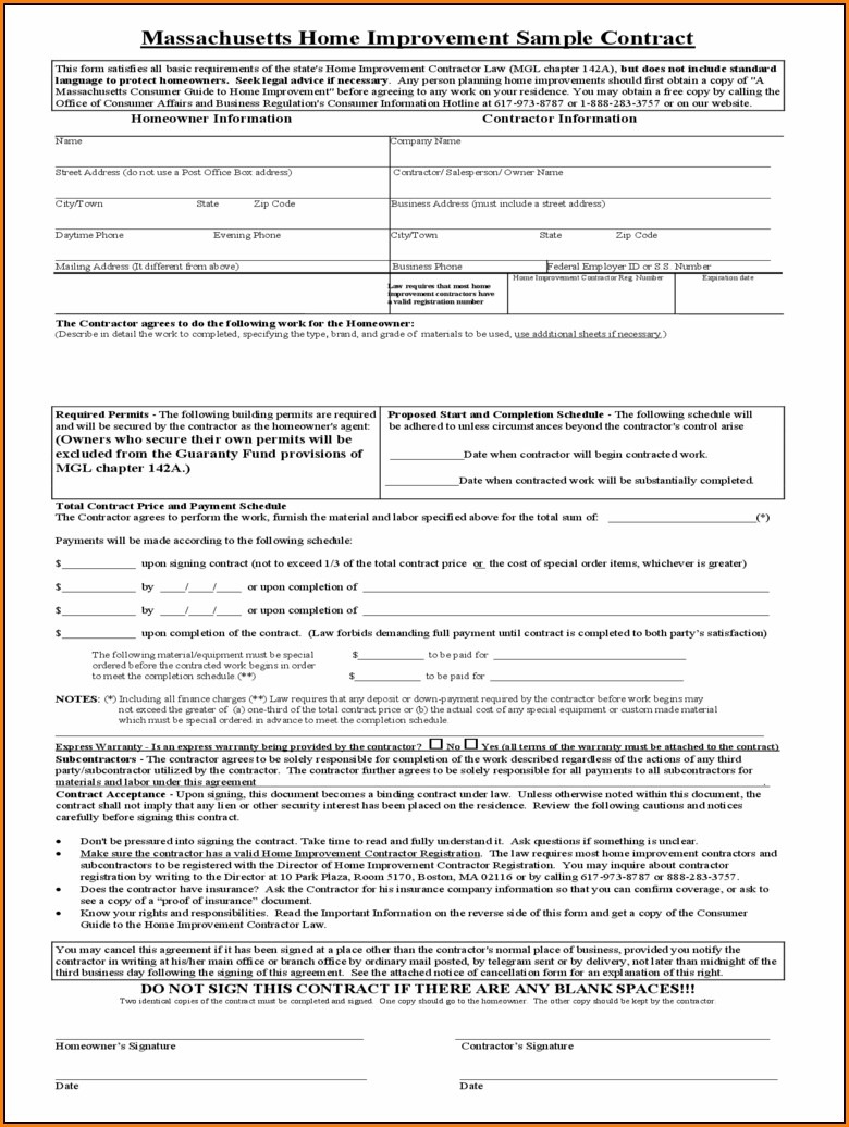 Home Improvement Contract Template Free
