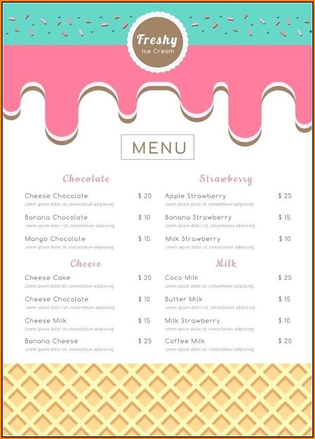 Ice Cream Menu Template Free