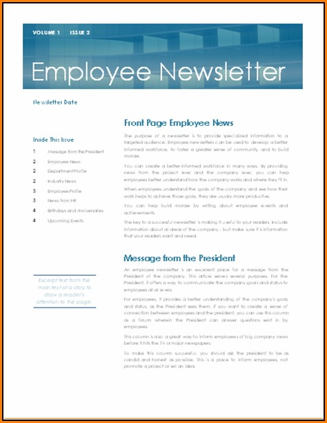 Internal Company Newsletter Templates