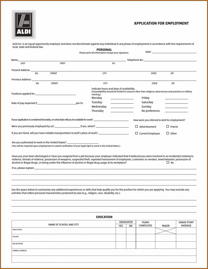 Job Aldi Application Form