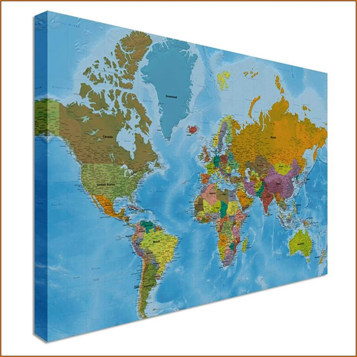 Large World Map Canvas Uk