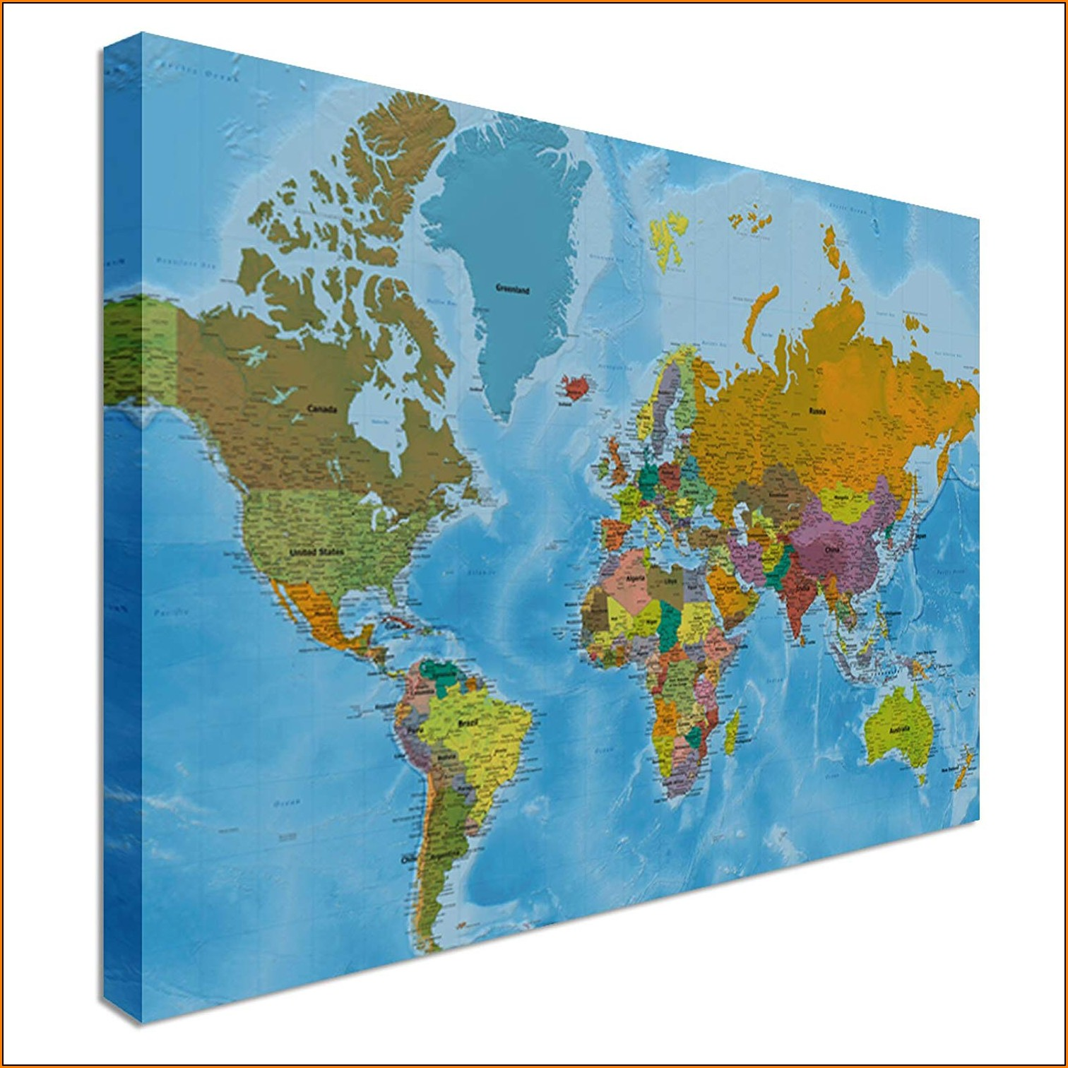 Large World Map Canvas Uk