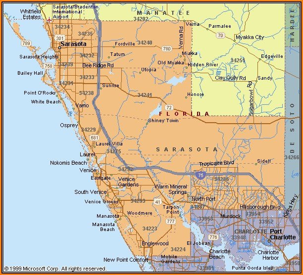Map Of Sarasota County Florida