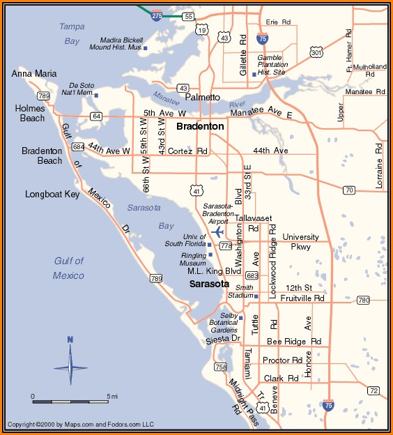 Map Of Sarasota Florida And Surrounding Area