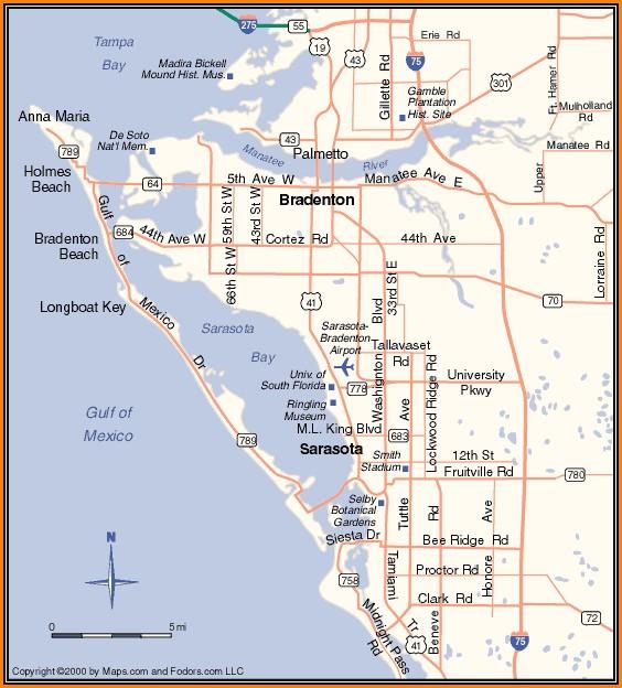 Map Of Sarasota Florida And Surrounding Area