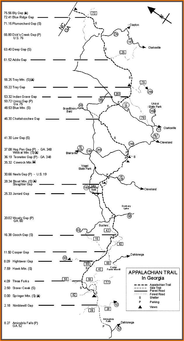 Map Of The Appalachian Trail In Georgia