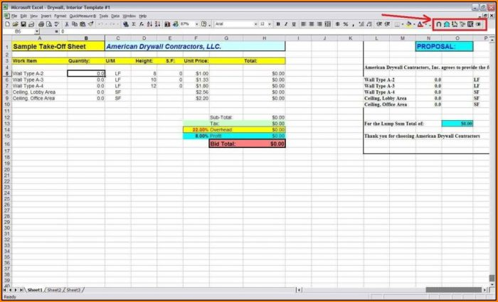 Material Takeoff Template Excel