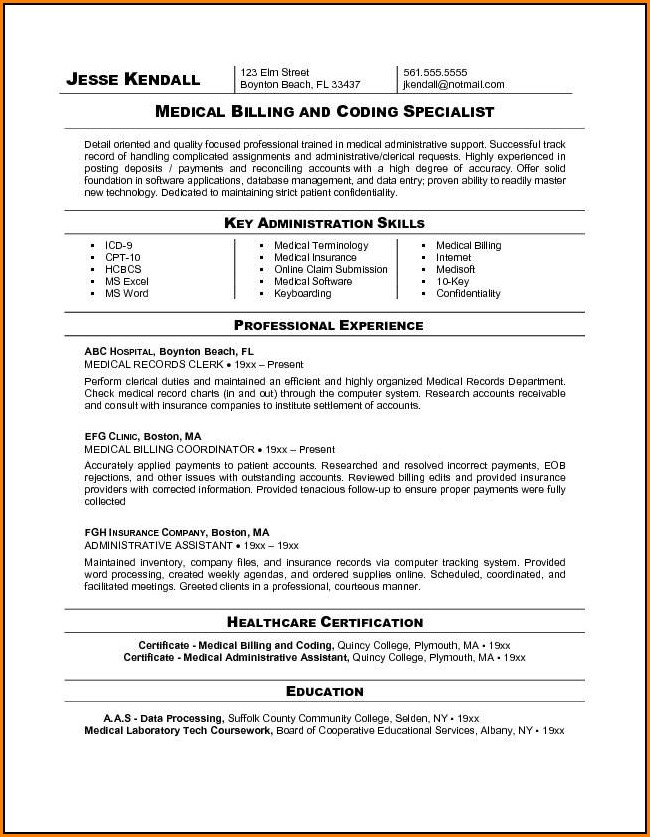 Medical Biller And Coder Resume