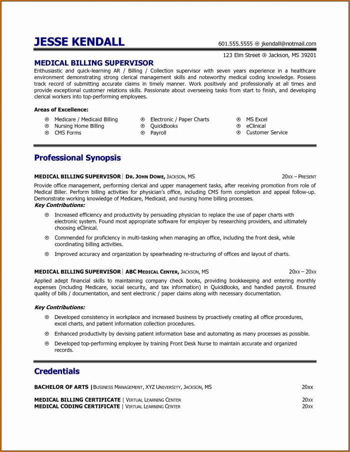 Medical Biller Resume Example