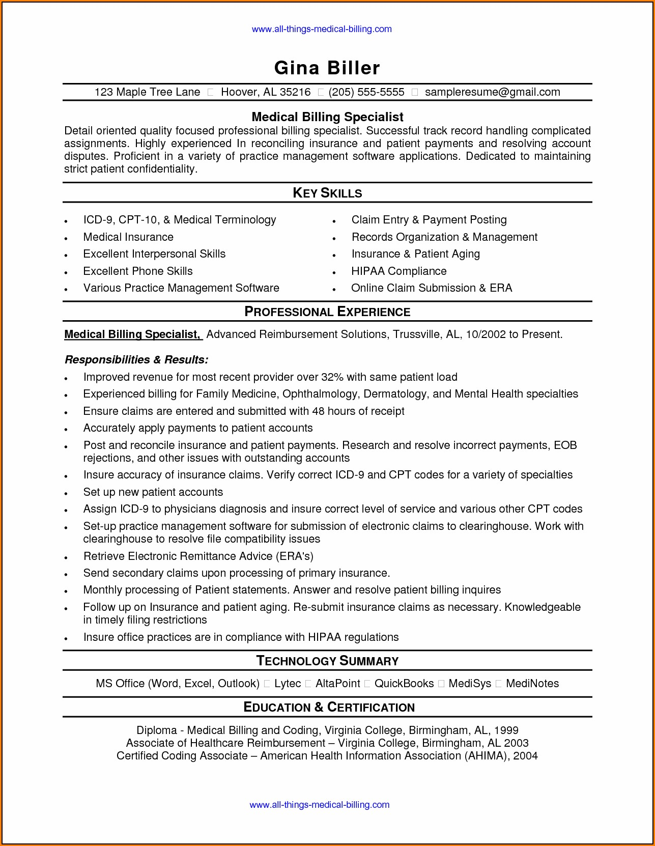 Medical Billing And Coding Resume Entry Level