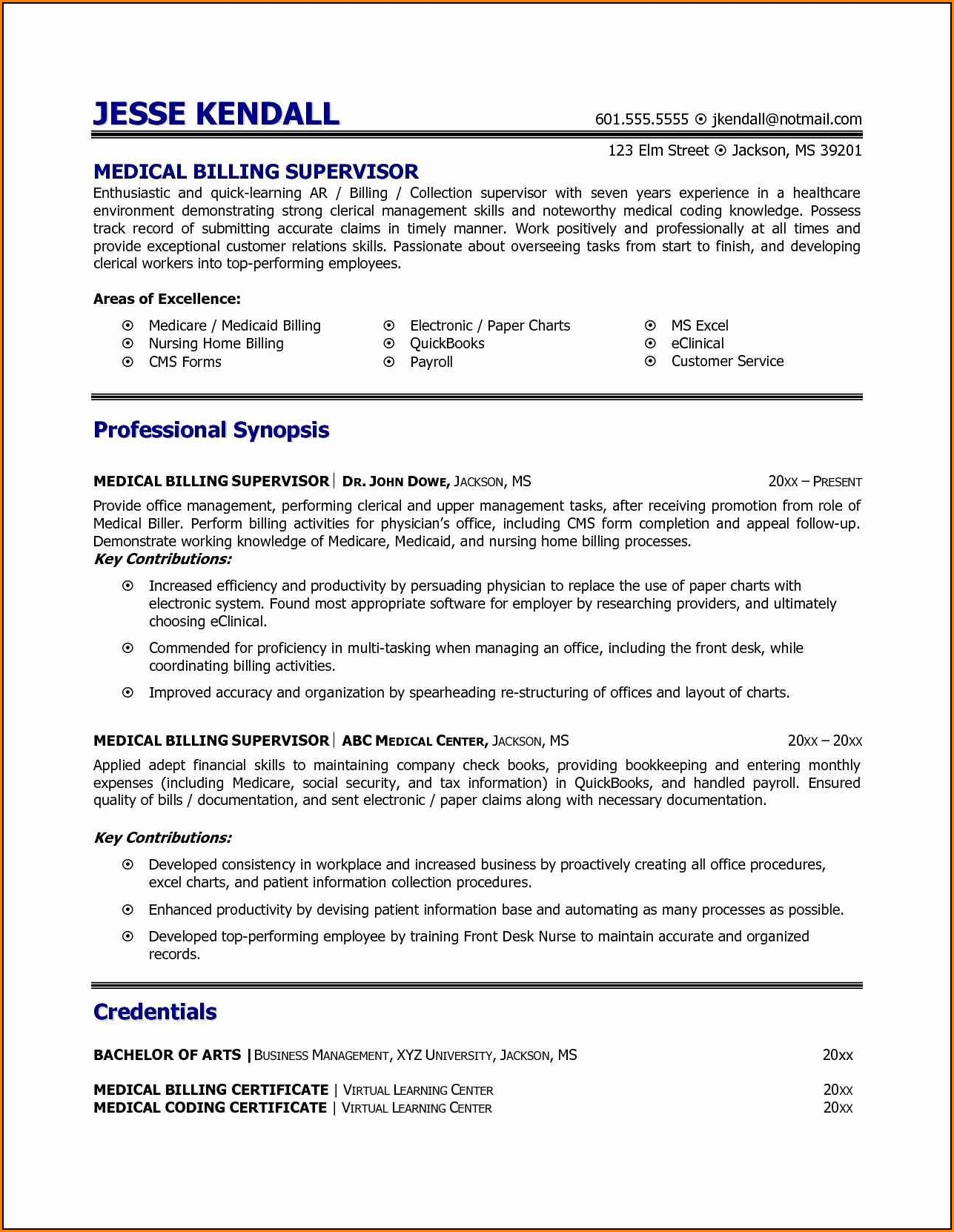 Medical Billing And Coding Resume With No Experience