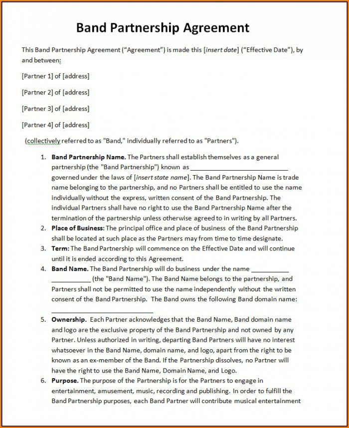 Music Partnership Agreement Template