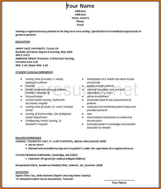 New Grad Rn Resume Template