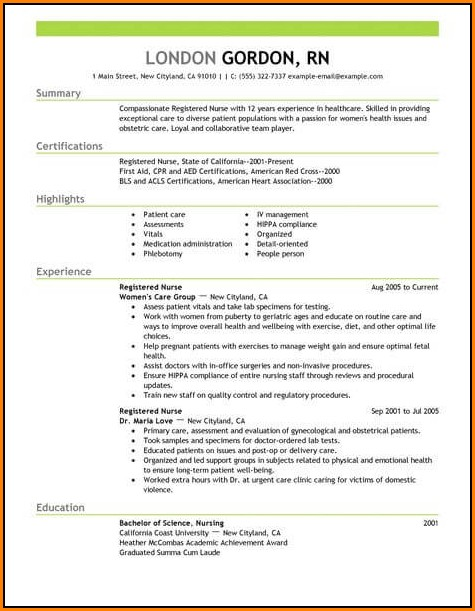 Nurse Resume Template Word