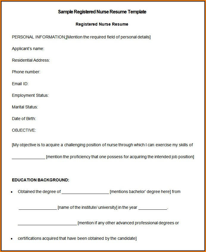 Nursing Resume Format Free Download