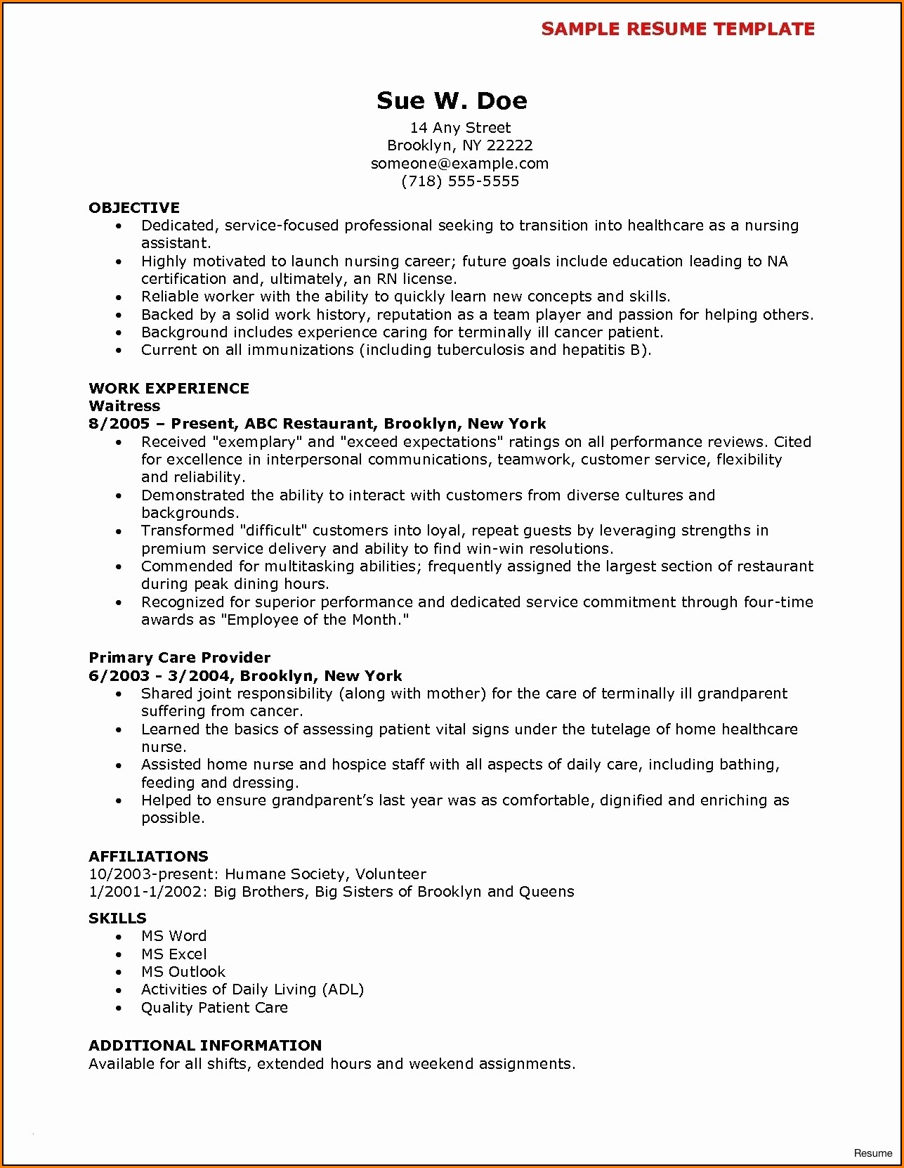 Nursing Resume Templates Word