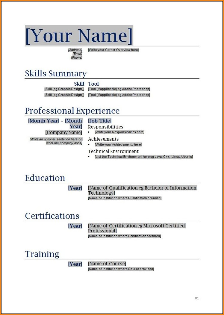 Printable Resume Templates Word
