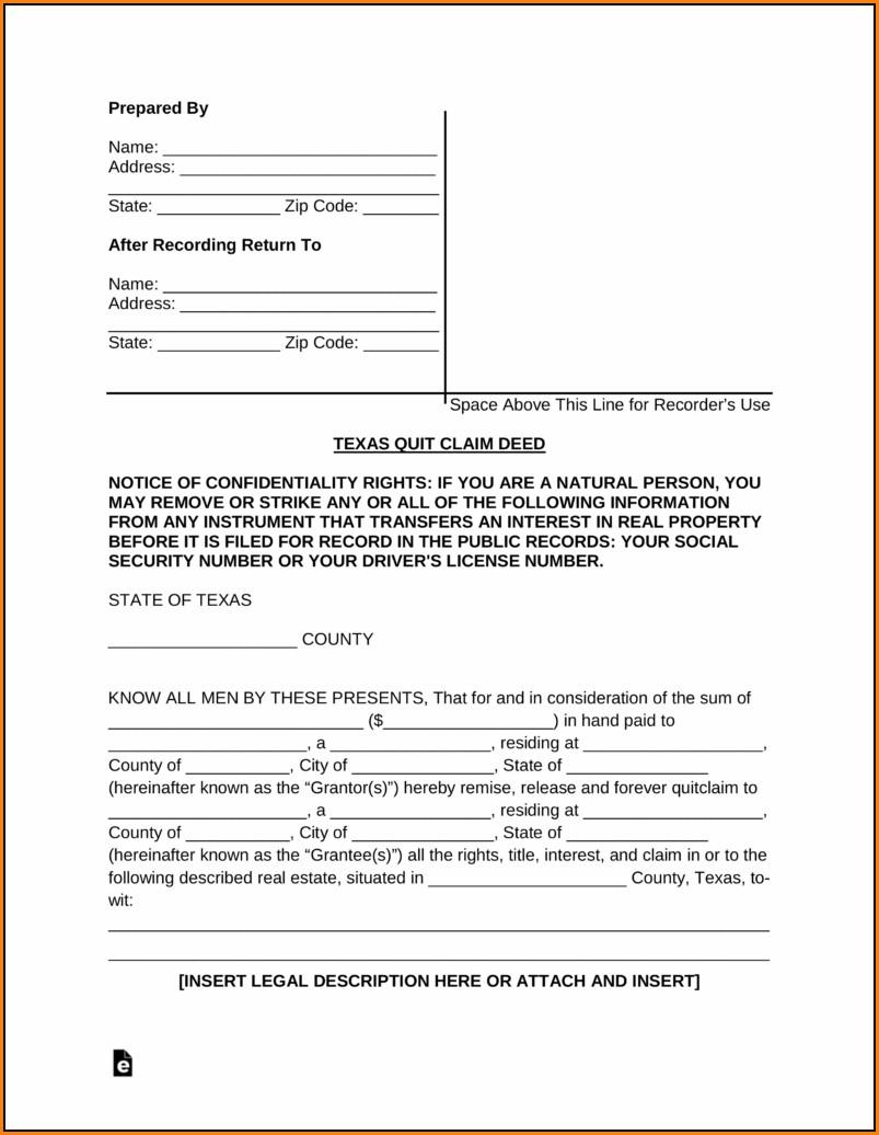 Quit Claim Deed Form Texas Pdf