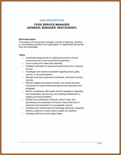 Restaurant General Manager Job Description Template