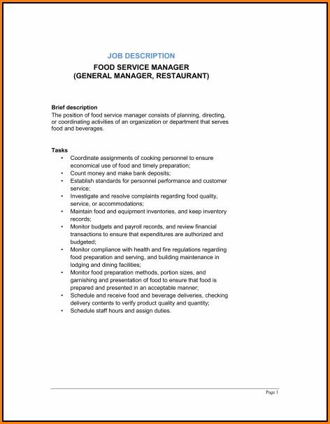 Restaurant General Manager Job Description Template