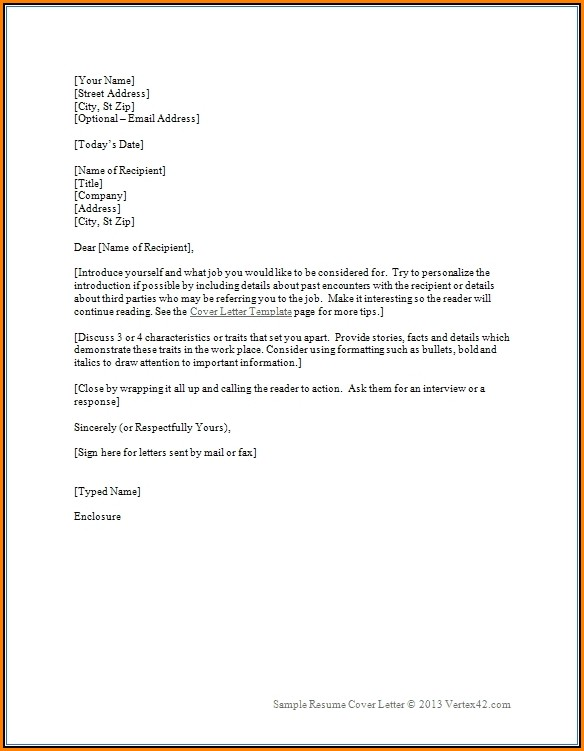 Resume And Cover Letter Templates Word