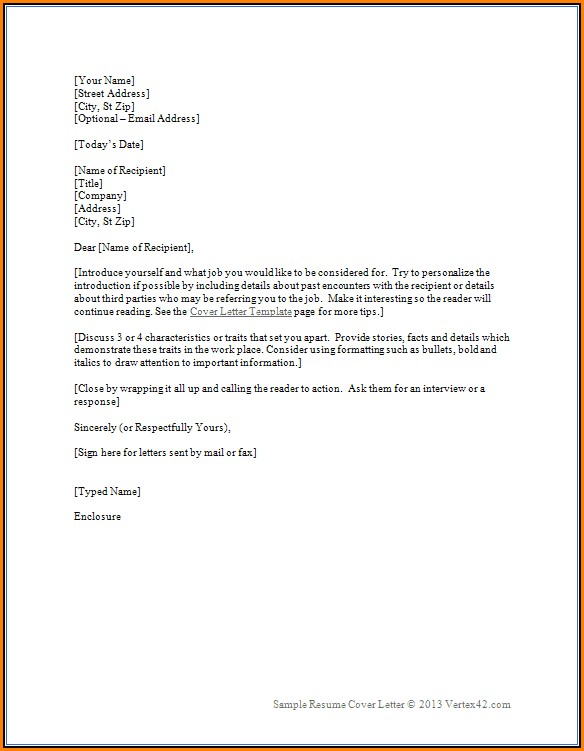 Resume Cover Letter Templates Word