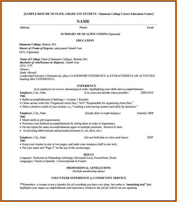 Resume Outline Free Download