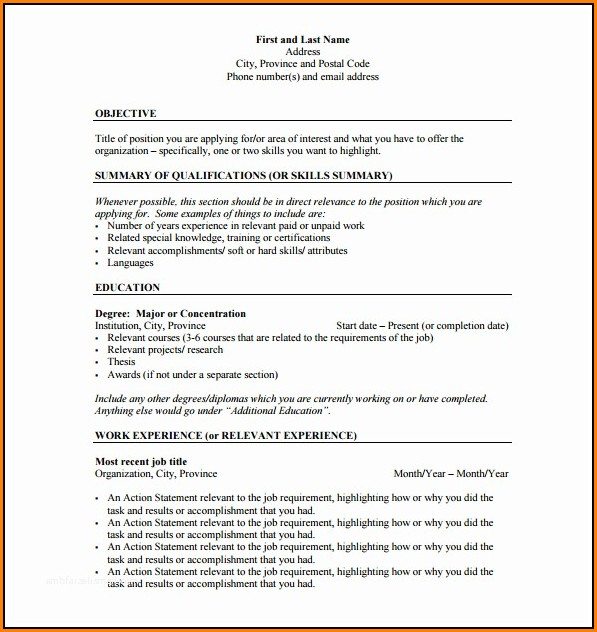 Resume Outline Free