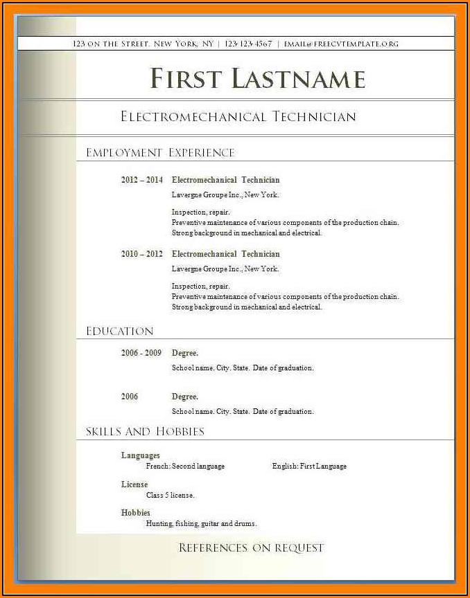 Resume Templates Free Download Pdf