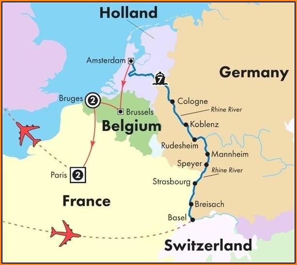 Rhine River Day Cruise Map