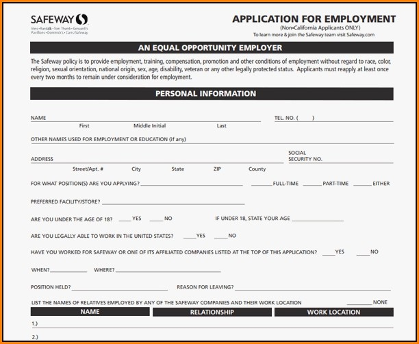 Safeway Jobs Application