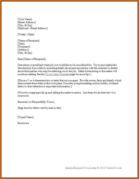 Sample Cover Letter Template For Resume