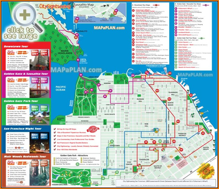 San Francisco Hop On Hop Off Bus Map