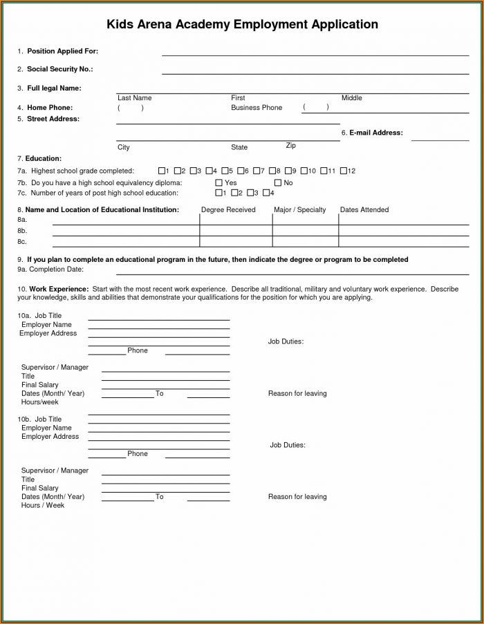 Security Guard Job Application Form