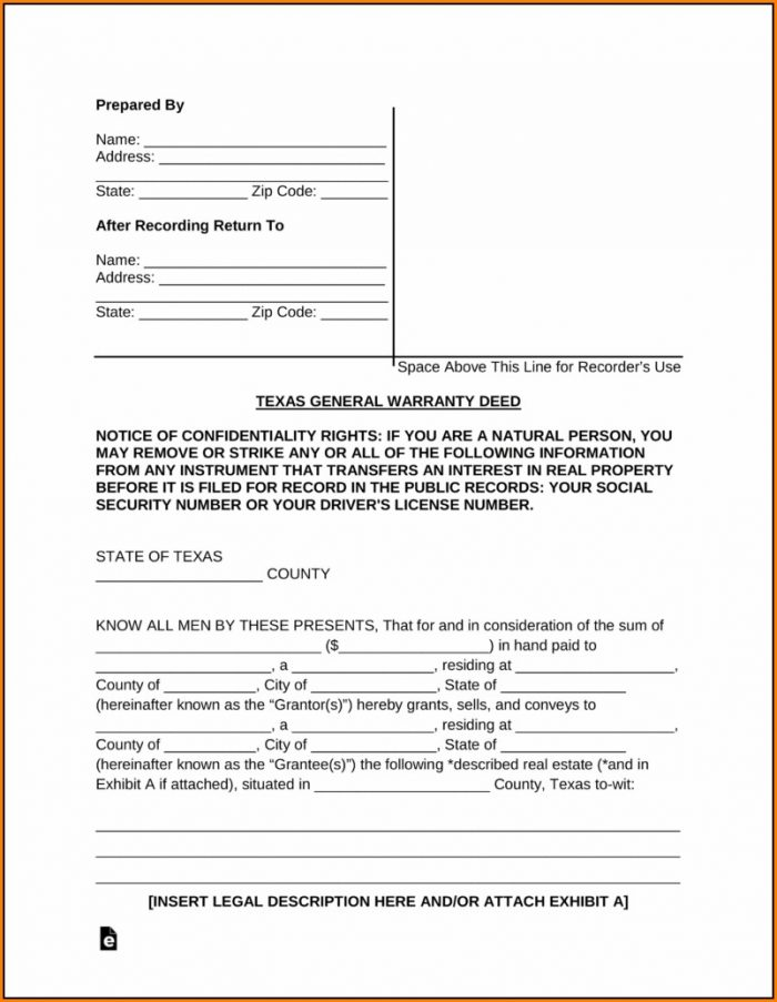 Texas General Warranty Deed Form Pdf